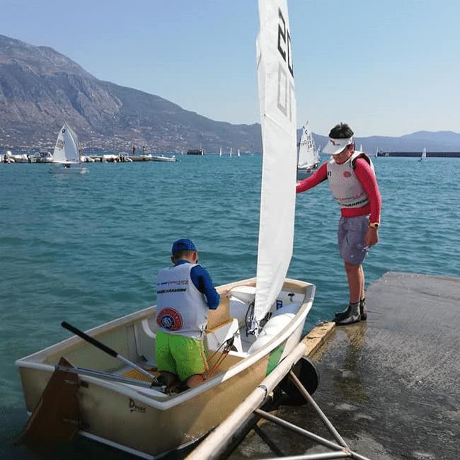dinghy sailing in Kalamata Single Optimiist