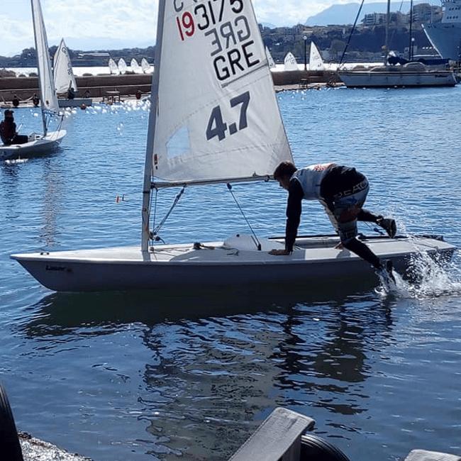 dinghy sailing in Kalamata autonomous Laser