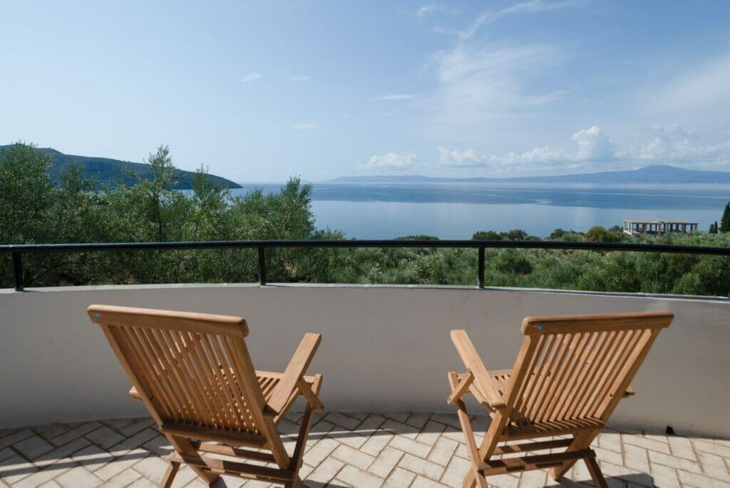 Villa Orea Elena Santova / Living room terrace view
